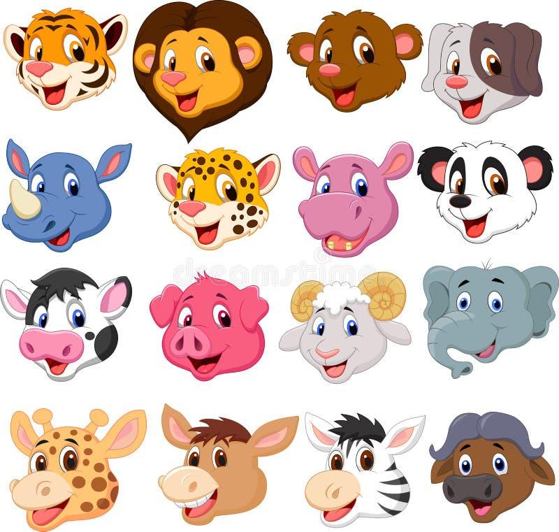 Комплект собрания шаржа животный головной бесплатная иллюстрация