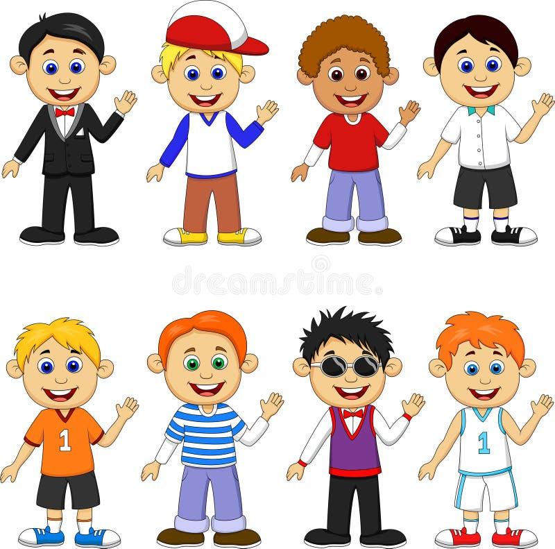Комплект собрания шаржа мальчика иллюстрация вектора