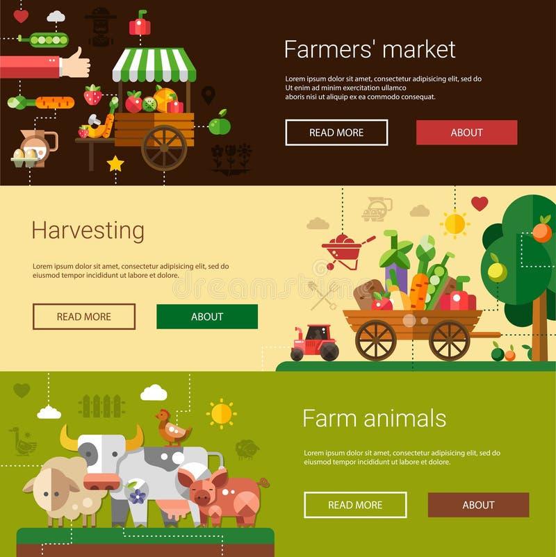 Комплект современной плоской фермы и земледелия дизайна бесплатная иллюстрация