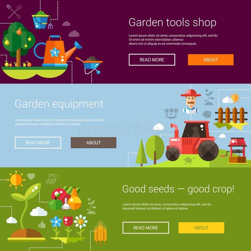 Комплект современной плоской фермы и земледелия дизайна иллюстрация штока