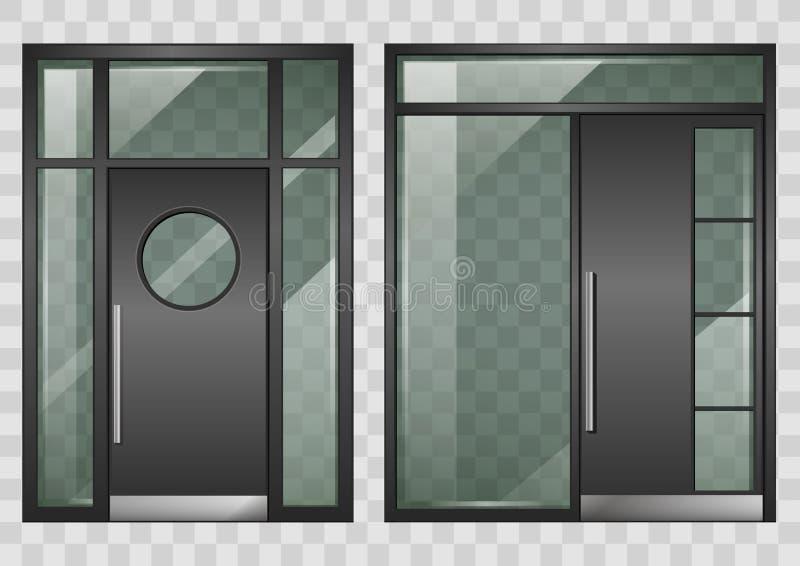 Комплект современных входных дверей бесплатная иллюстрация