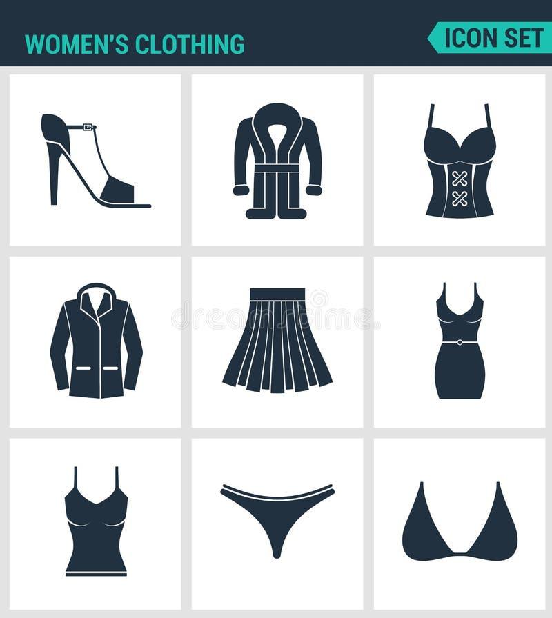 Комплект современных значков Ботинки одежды женщин s, пальто, куртка, пальто, юбка, платье, футболка, хоботы заплывания, чернота  бесплатная иллюстрация