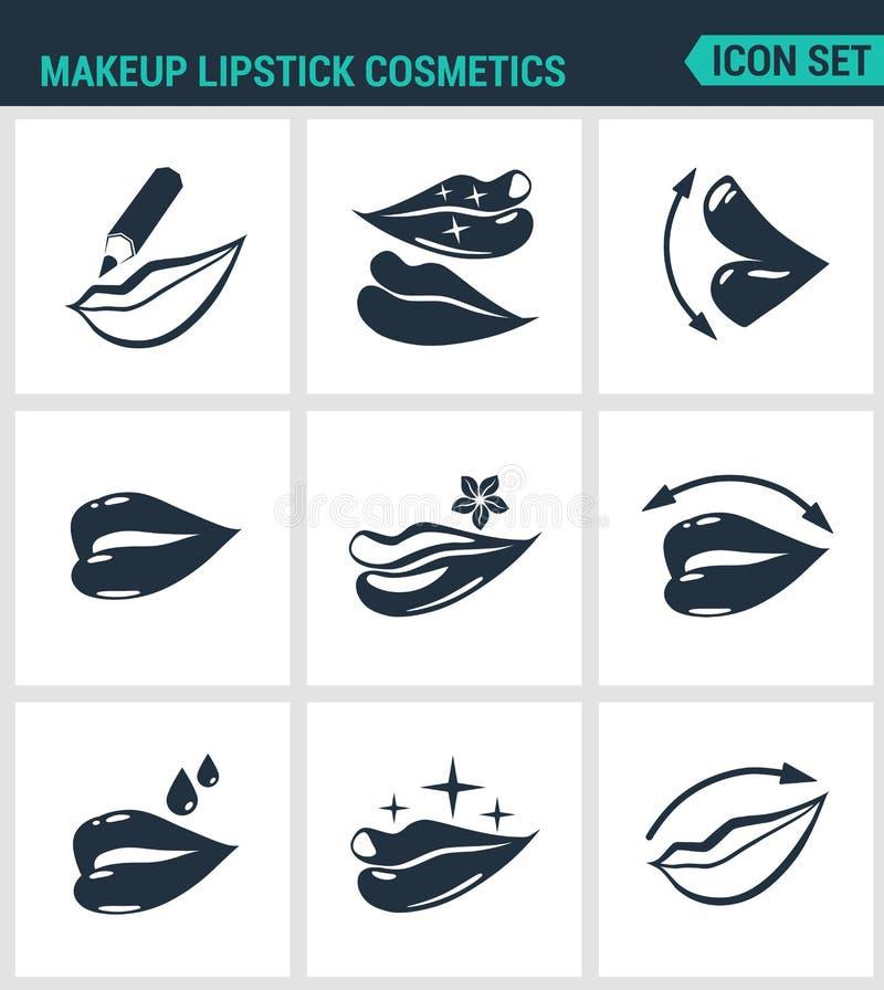 Комплект современных значков Губы косметик губной помады состава, карандаш губы, губная помада, лоск, защита Черные знаки иллюстрация вектора