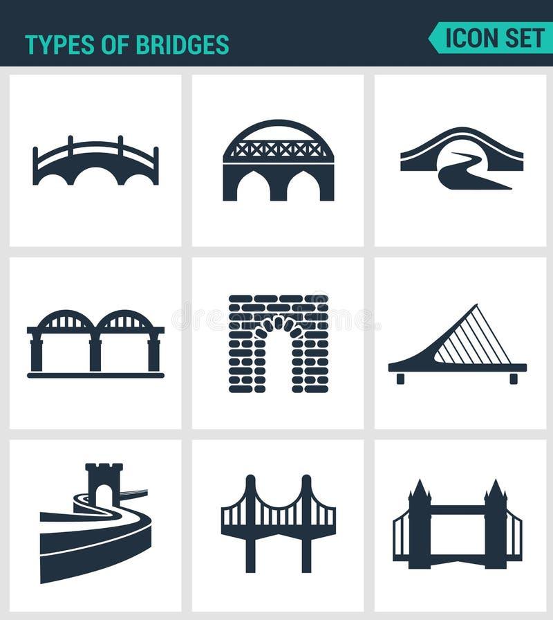 Комплект современных значков Типы мостов архитектуры, конструкции Черные знаки на белой предпосылке Символ изолированный дизайном бесплатная иллюстрация