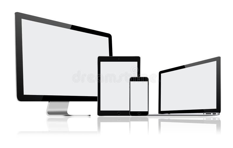 Комплект современных монитора компьютера, компьтер-книжки, ПК таблетки и мобильного телефона бесплатная иллюстрация