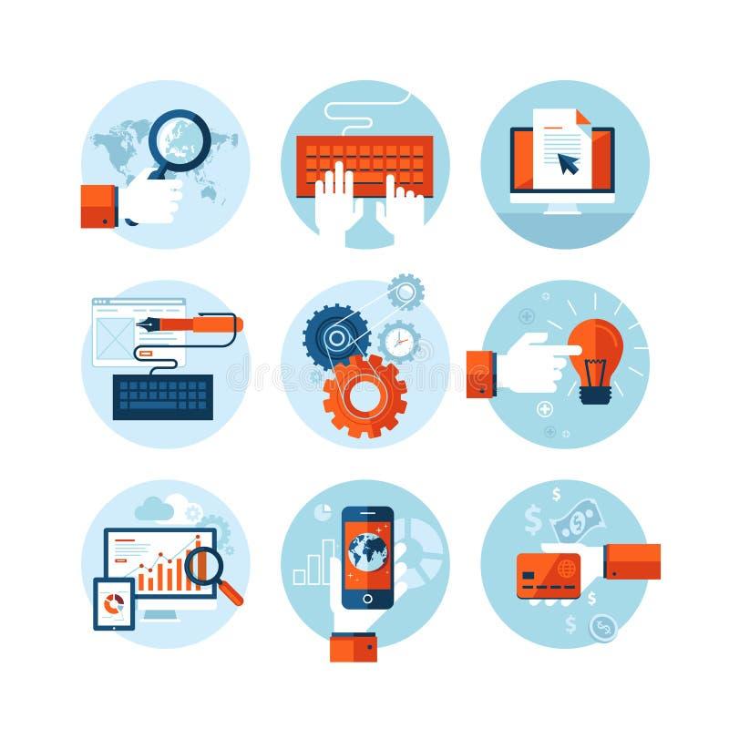 Комплект современных плоских значков дизайна на теме развития веб-дизайна