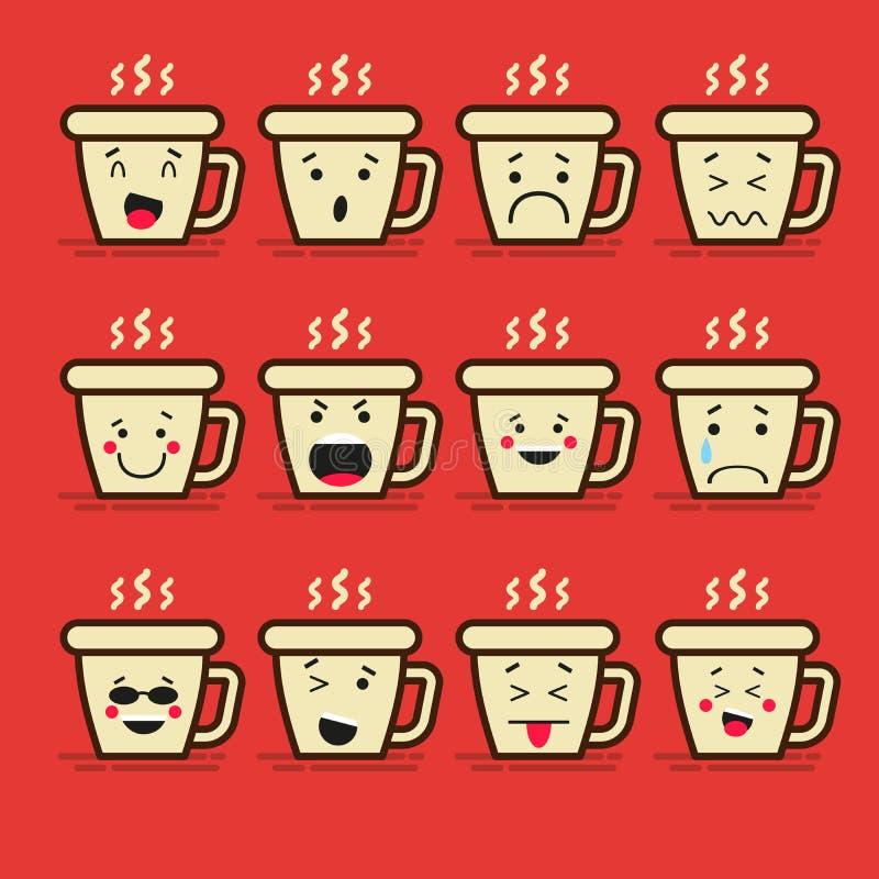 Комплект 12 современных плоских смайликов: Кофе или чай, чашка и пар, горячее питье, улыбка, тоскливость и другие эмоции вектор иллюстрация вектора