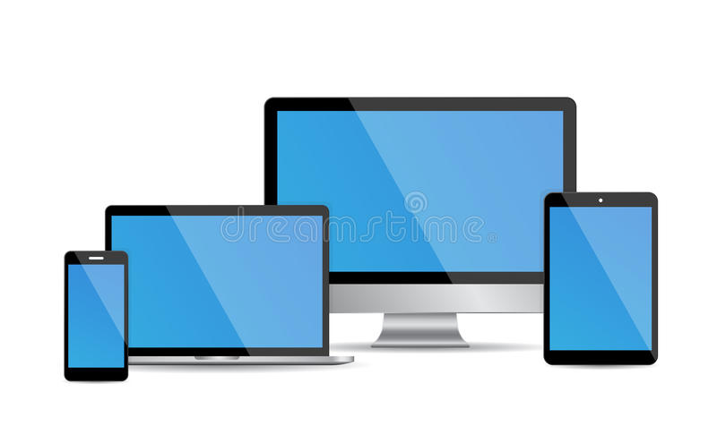 Комплект современных цифровых приборов иллюстрация вектора