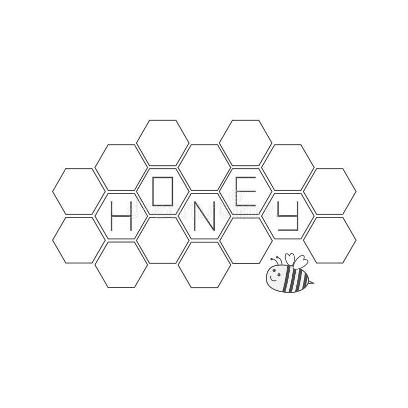 Комплект сота Животное насекомого пчелы Элемент улья Значок текста меда изолировано Белая предпосылка Плоский дизайн бесплатная иллюстрация