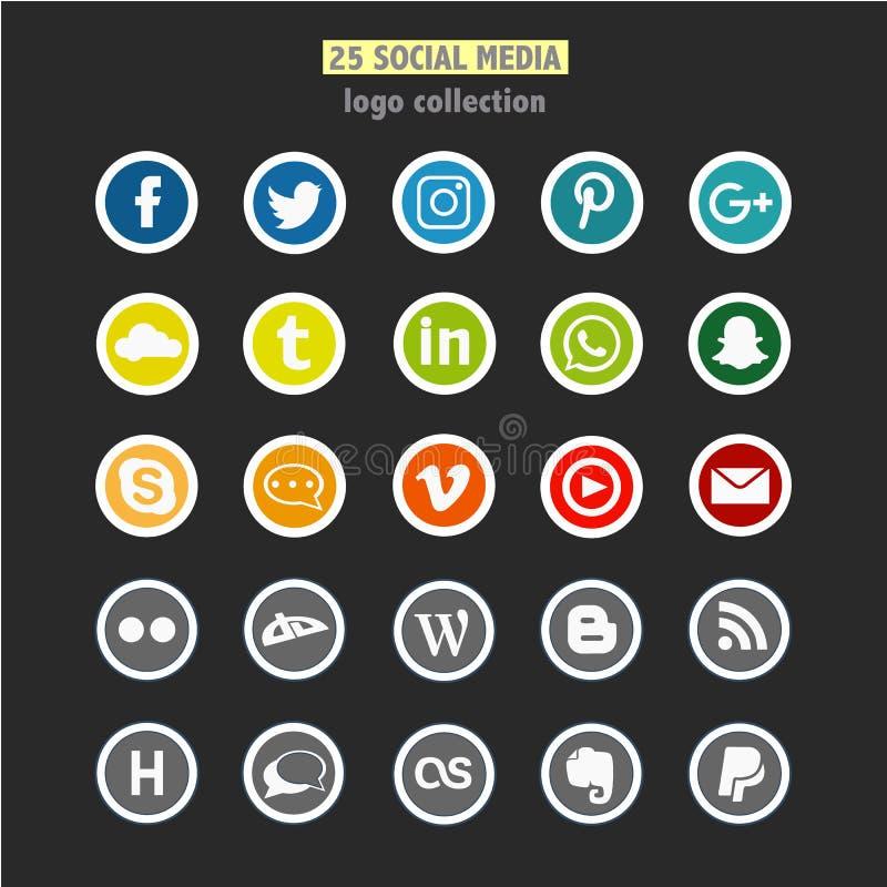 Комплект 25 социальных логотипов сети иллюстрация штока