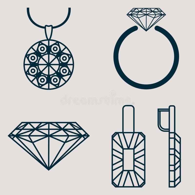 Комплект содержит 4 значка для товаров ювелирных изделий звенит, серьги, ожерелье и классический диамант иллюстрация штока