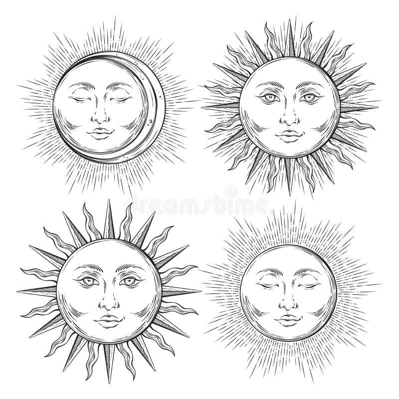 Комплект солнца искусства дизайна татуировки Boho шикарной внезапной нарисованный рукой и луны полумесяца иллюстрация штока