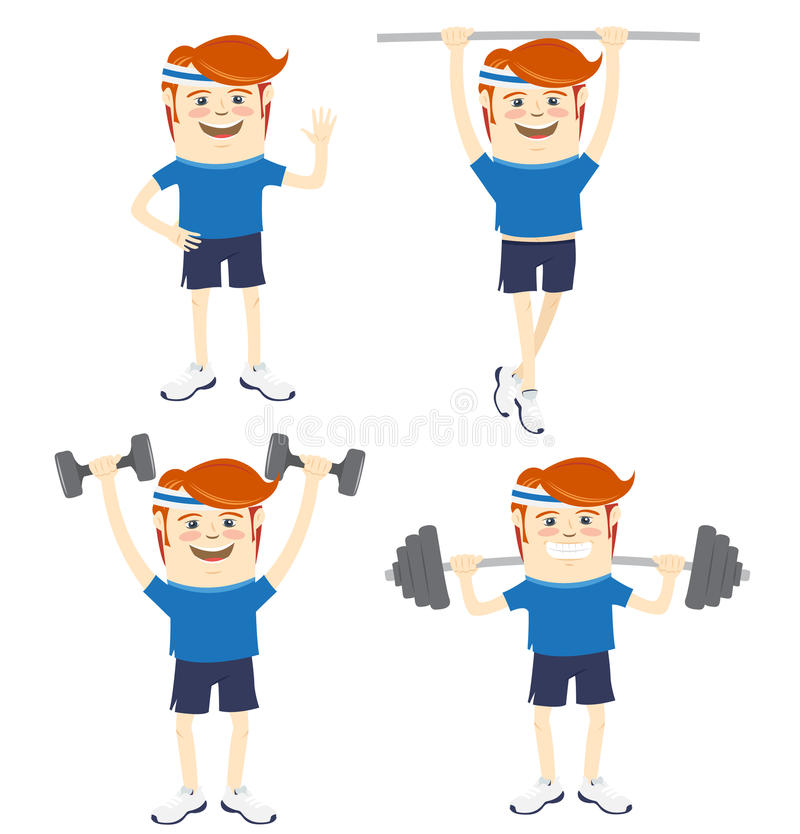 Комплект спортсменов битника смешных делая тренировки Плоский стиль бесплатная иллюстрация