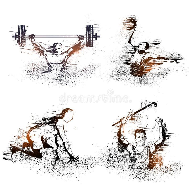 Комплект 4 спорт с игроками иллюстрация вектора