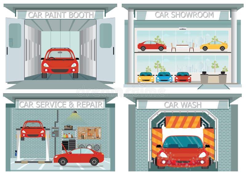 Комплект станции обслуживания автомобиля иллюстрация вектора