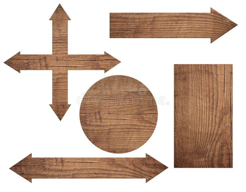 Комплект старого выдержанного деревянного знака roud, стрелки, прерывая доски изолированной на белой предпосылке стоковые изображения rf