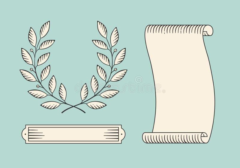 Комплект старых винтажных знамени и лаврового венка ленты в стиле гравировки Нарисованный рукой элемент дизайна также вектор иллю иллюстрация вектора