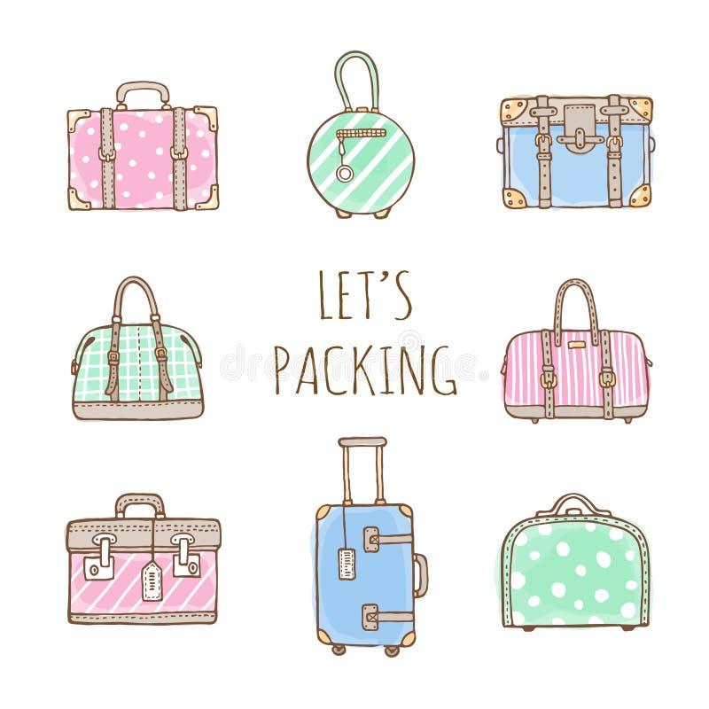 Комплект старых винтажных сумок и чемоданов для перемещения иллюстрация вектора