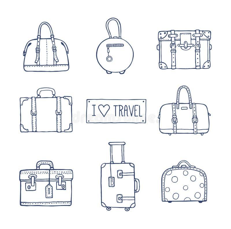 Комплект старых винтажных сумок и чемоданов для перемещения иллюстрация штока