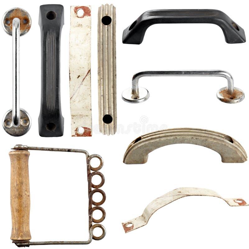 Комплект старых doorknobs. Изолированный стоковые фотографии rf