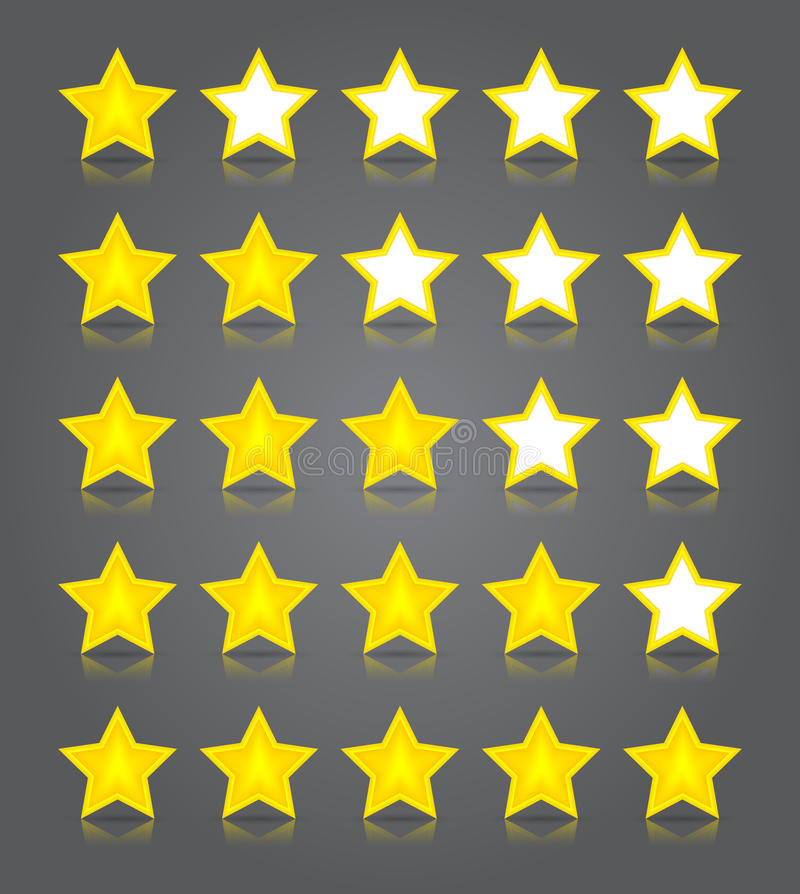 Комплект стекла икон App. Rati 5 лоснистое звезд желтого цвета иллюстрация штока