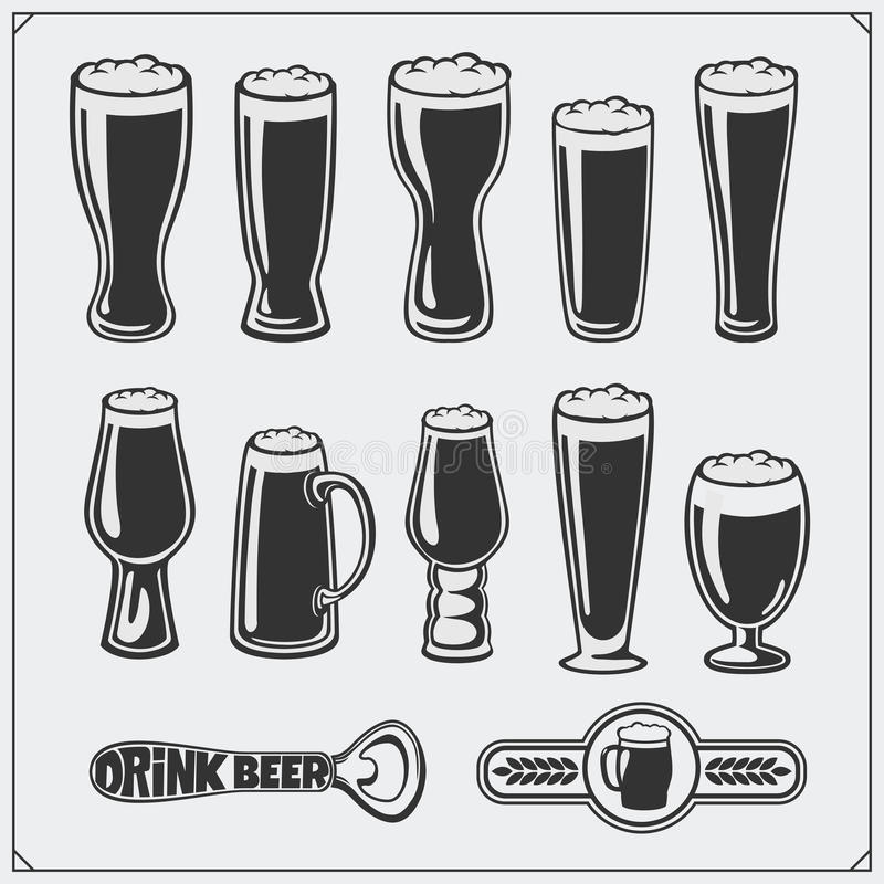 Комплект стеклоизделия пива вектора иллюстрация штока