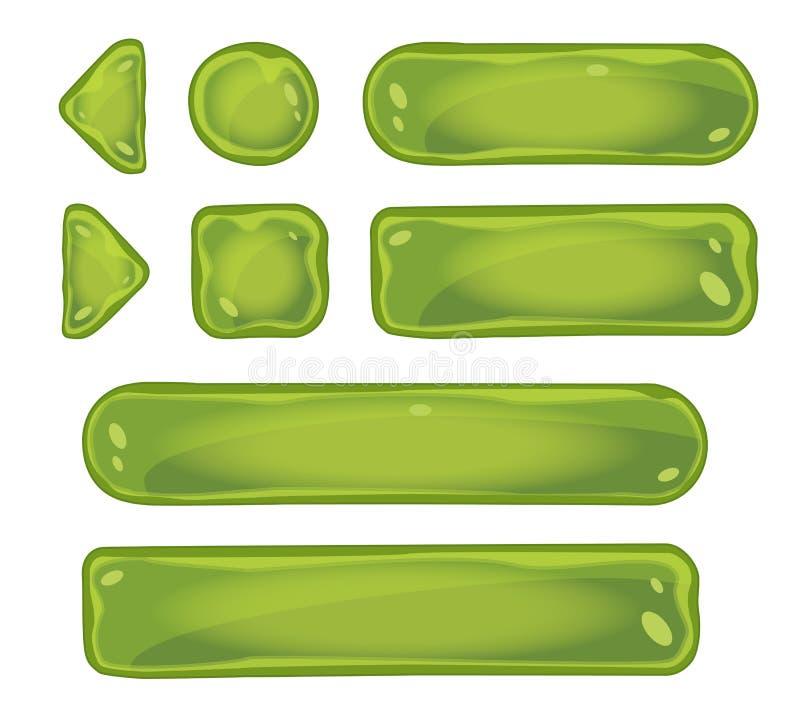 Комплект стеклянных зеленых кнопок для игры взаимодействует бесплатная иллюстрация