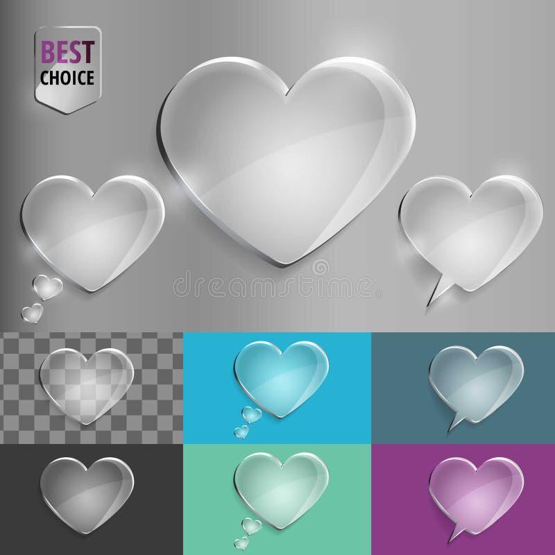 Комплект стеклянных значков сердца пузыря речи с мягкой тенью на предпосылке градиента Иллюстрация EPS 10 вектора для сети стоковые изображения rf