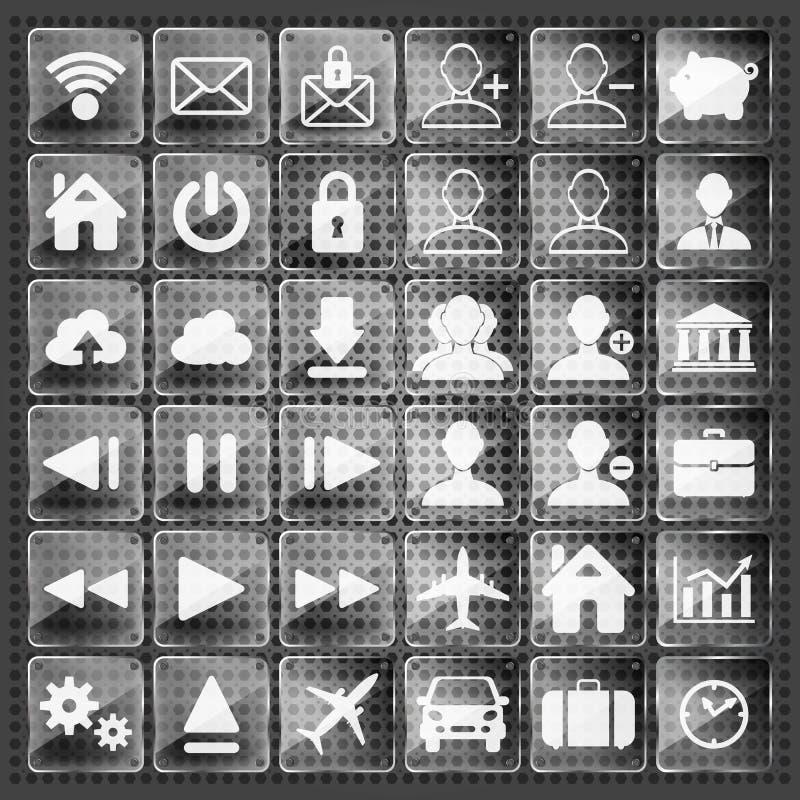 Комплект стеклянных сеты, мультимедиа и значков дела иллюстрация штока