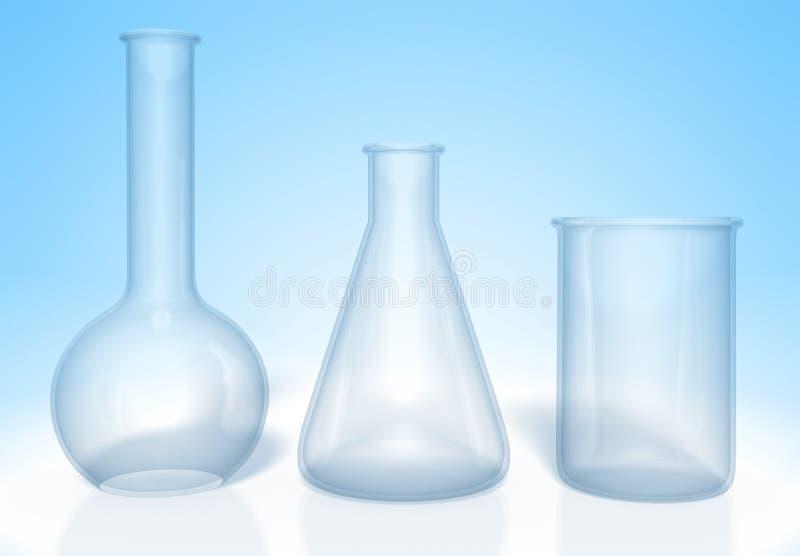 Комплект стеклянных склянок для экспериментов по химии представленных в 3D иллюстрация вектора