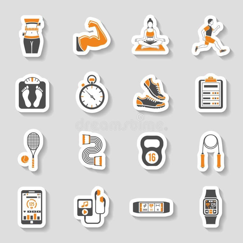 Комплект стикера значка фитнеса бесплатная иллюстрация