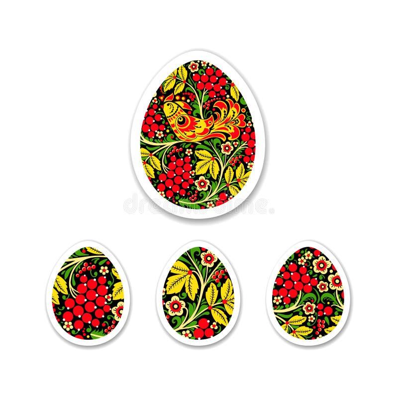 Комплект стикера яичек покрашен с картиной цветка Русский Na стоковое фото rf