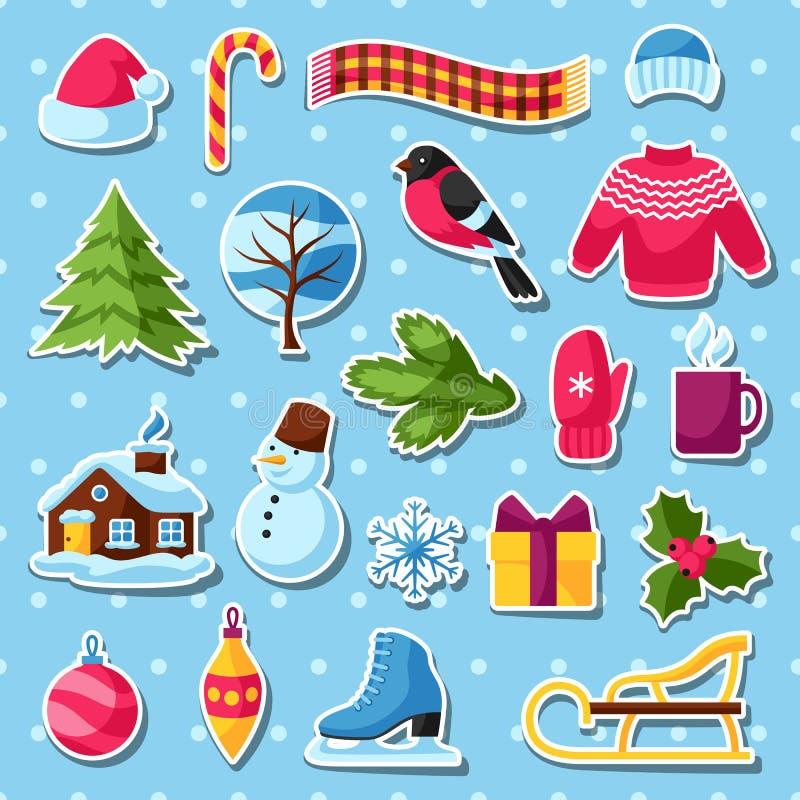 Комплект стикеров зимы С Рождеством Христовым, счастливые детали праздника Нового Года и символы бесплатная иллюстрация