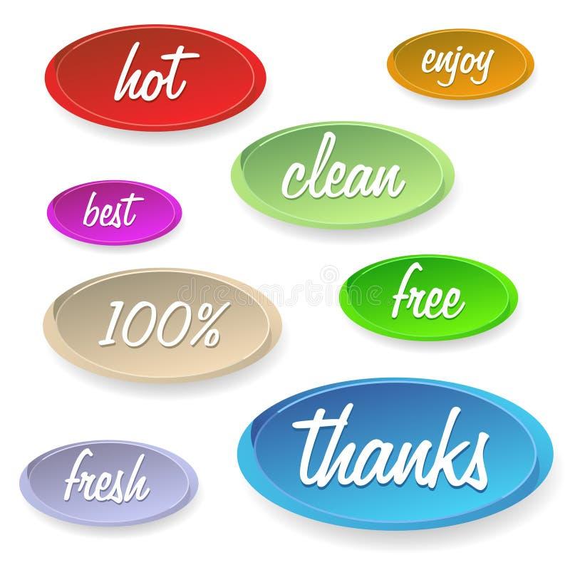 Комплект стикеров или кнопок - удовлетворения клиента бесплатная иллюстрация