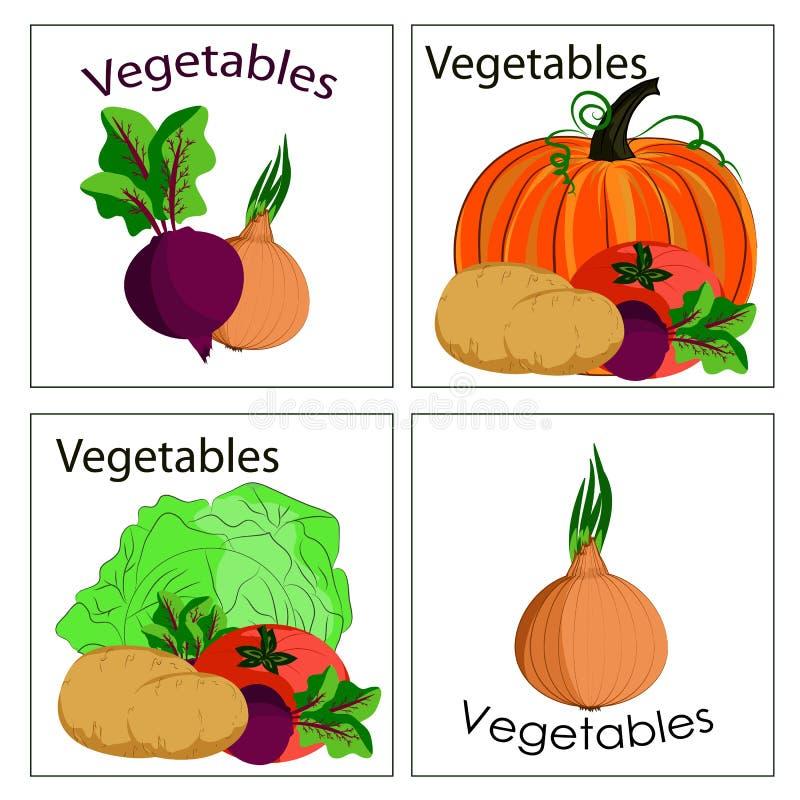 Комплект стикеров и ярлыков свежих овощей Может быть используемым f иллюстрация вектора