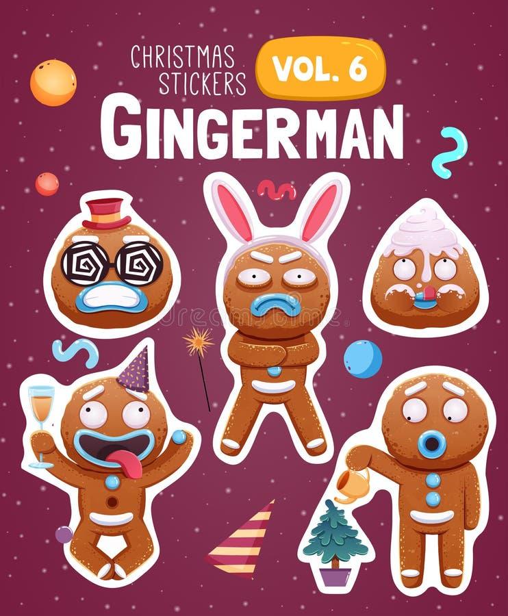 Комплект стикеров рождества с выразительными печеньями человека пряника бесплатная иллюстрация