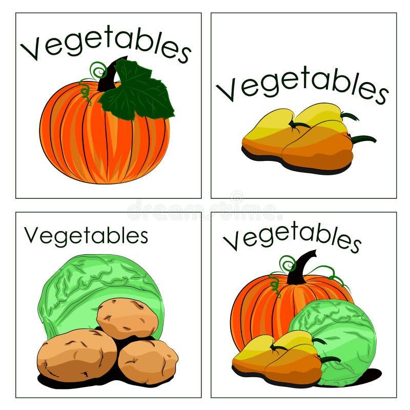 Комплект стикеров свежих овощей Может быть используемым для продажи veg бесплатная иллюстрация