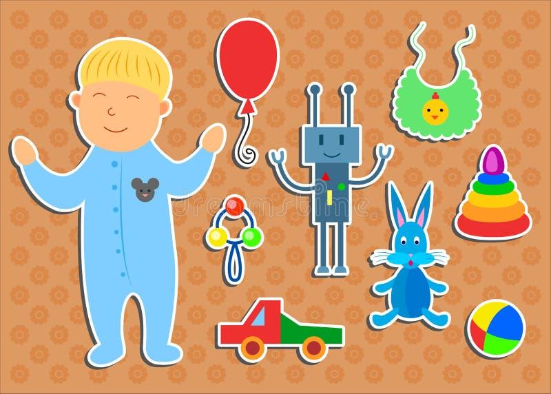 Комплект стикеров с мальчиком и игрушками иллюстрация вектора