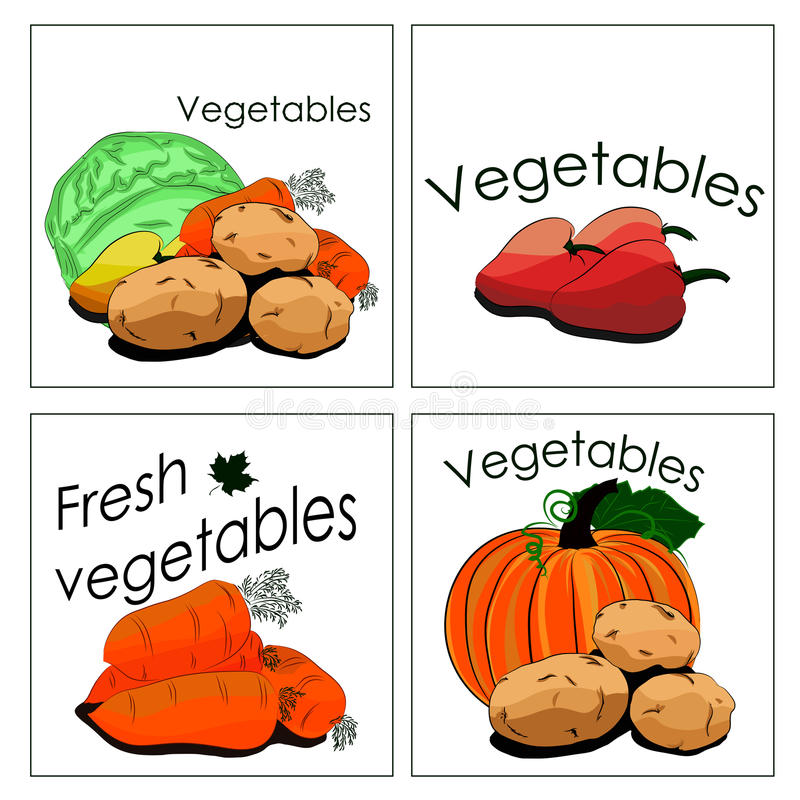 Комплект стикеров для продажи свежих овощей бесплатная иллюстрация