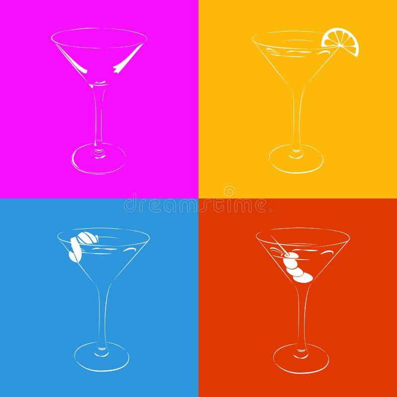 Комплект стилизованного стекла Мартини в 4 вариантах иллюстрация штока