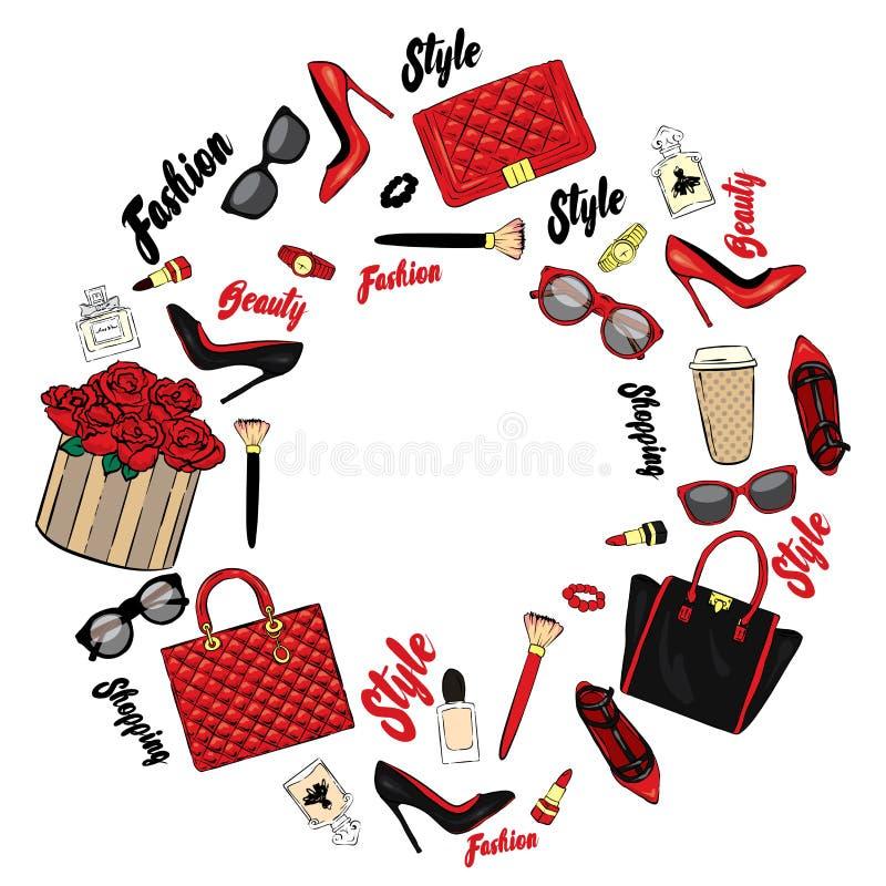 Комплект стильных аксессуаров ` s женщин Иллюстрация вектора для карточки или плаката Мода & стиль иллюстрация штока