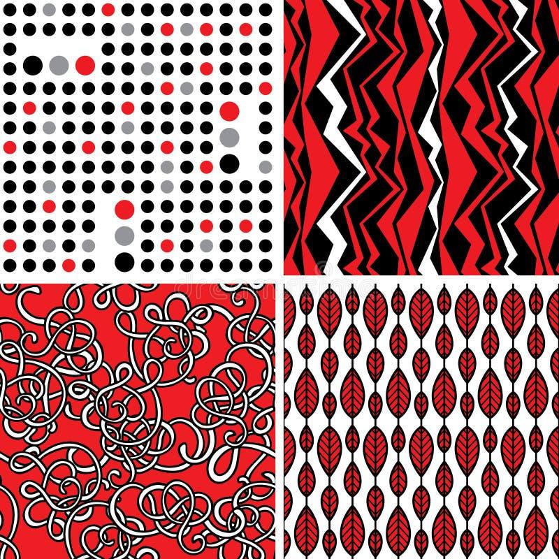 Комплект стильных безшовных орнаментов бесплатная иллюстрация