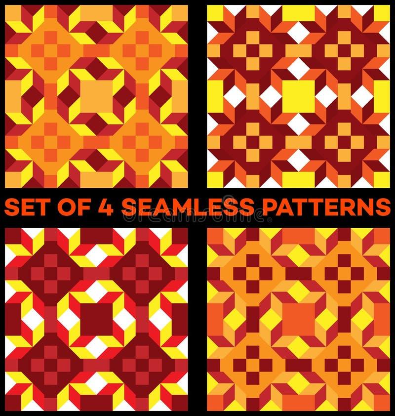 Комплект 4 стильных геометрических безшовных картин с косоугольником, треугольниками и квадратами желтой, красной, vinous, оранже иллюстрация штока