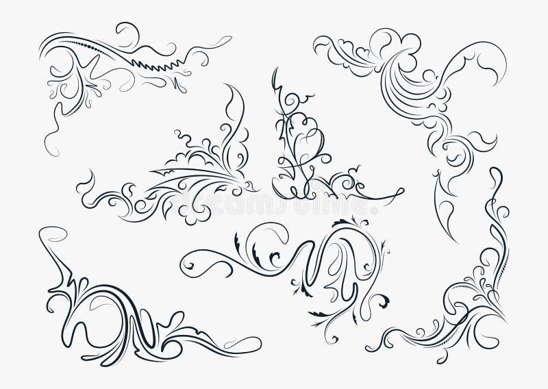 Комплект 7 стильных декоративных элементов - винтажных углов для y иллюстрация штока