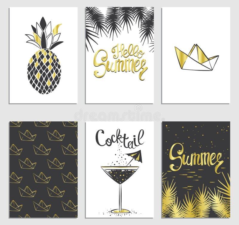 Комплект стильных карточек лета Ананас, коктеиль, бумажная шлюпка и ветви ладони в векторе Надписи лета литерность иллюстрация штока