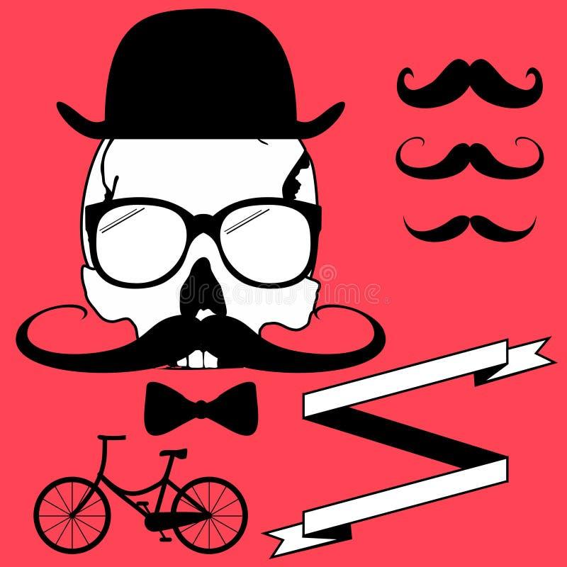 Комплект стиля битника черепа велосипеда бесплатная иллюстрация