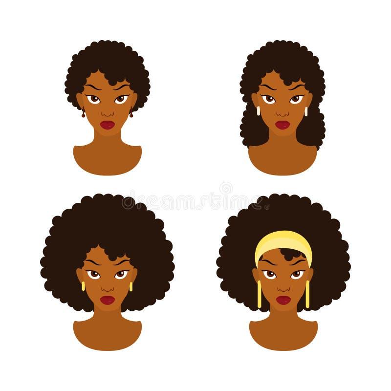 Комплект стиля причёсок женщин модельного - иллюстрации бесплатная иллюстрация