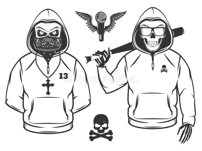 Комплект стиля хмеля черепа и бедра рэпа каркасного черно-белого иллюстрация вектора