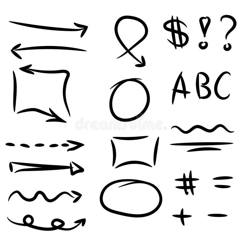 Комплект стрелок, круга и квадратов нарисованных рукой для выделять текст иллюстрация вектора
