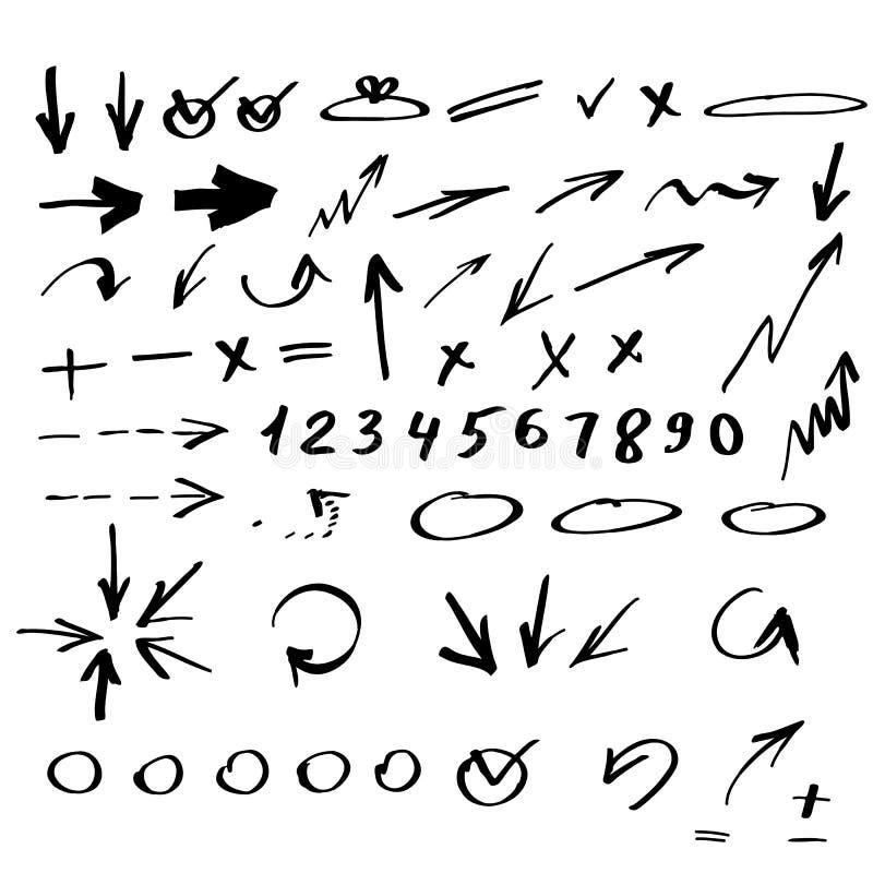 Комплект стрелок нарисованных рукой бесплатная иллюстрация